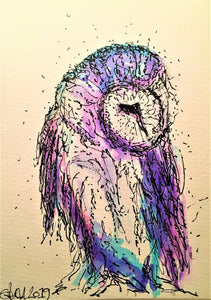 Handpainted Watercolour Greeting Card - Purple/Blue Owl - eDgE dEsiGn London
