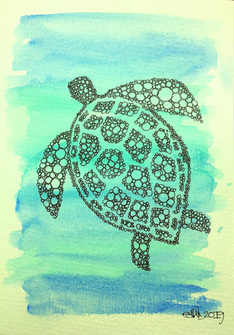 Handmade Greeting Card - Abstract Watercolour Turtle by eDgE dEsiGn London Ltd