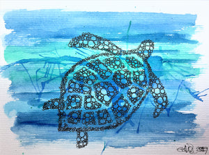 Handpainted Watercolour Greeting Card - Blue/Green Splatter Turtle design - eDgE dEsiGn London