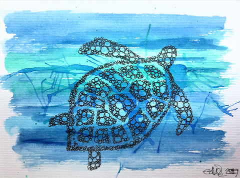 Handpainted Watercolour Greeting Card - Abstract Turtle - Circle design on blue and green background