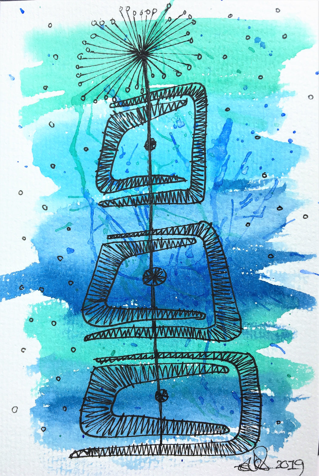 Handpainted Watercolour Greeting Card - Abstract Blue/Green Retro Design - eDgE dEsiGn London