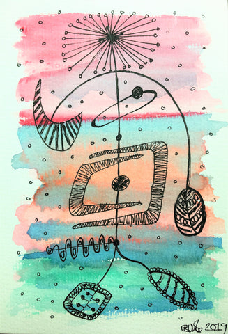 Handpainted Watercolour Greeting Card - Abstract Retro Design by eDgE dEsiGn London
