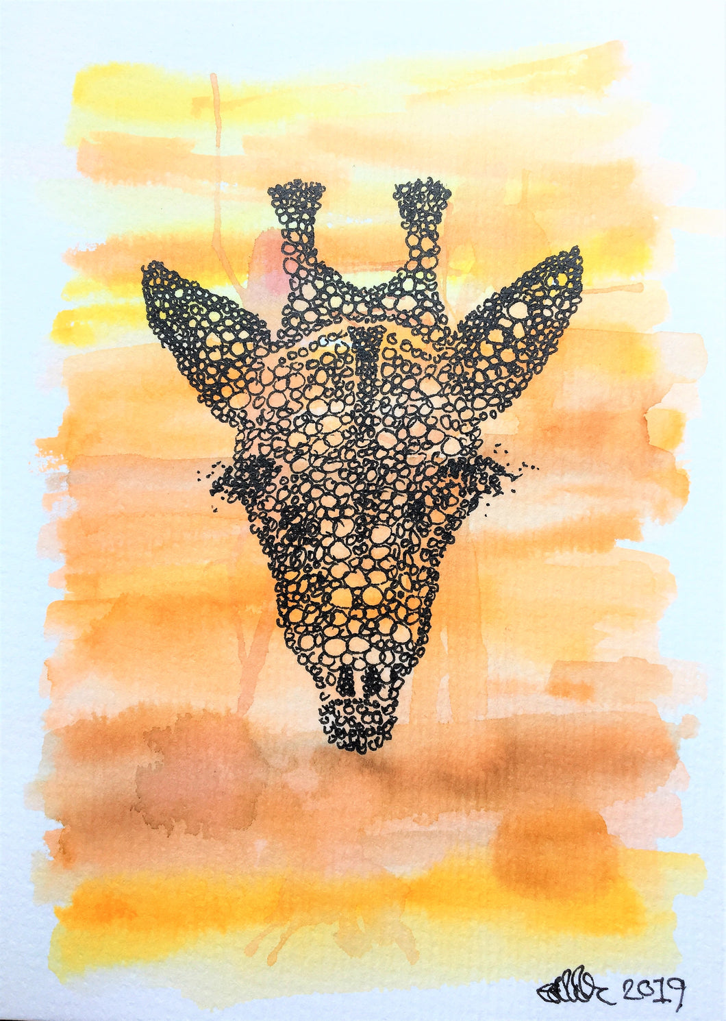 Handpainted Watercolour Greeting Card - Abstract Giraffe design