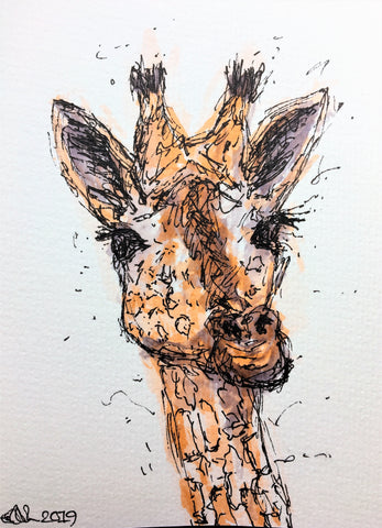 Handmade Watercolour Greeting Card - Abstract Giraffe in Brown, Orange and Grey Watercolour and Black Ink