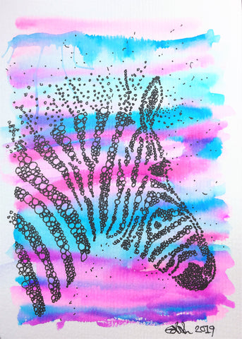 Handpainted Watercolour Greeting Card - Abstract Zebra Design