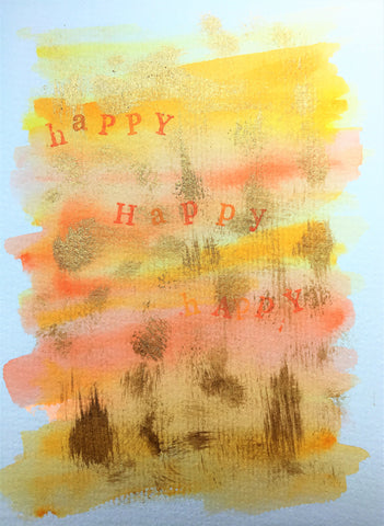 Handpainted Greeting Card - Yellow/Orange/Gold Abstract Happy Print