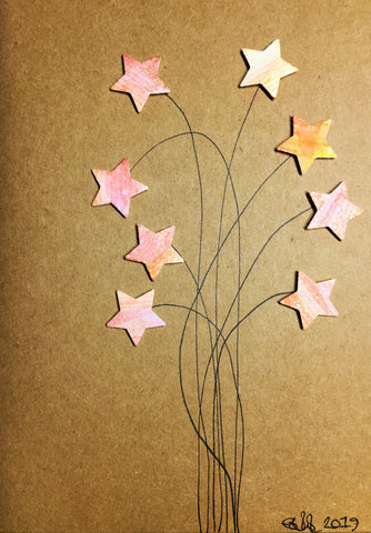 Handpainted Greeting Card - Yellow/Pink/Orange/Bronze Stars Flower
