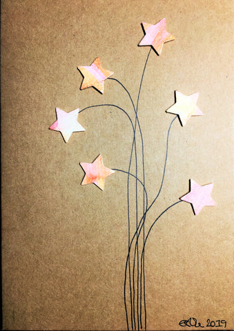 Handpainted Greeting Card - Yellow/Pink/Orange/Bronze Stars Flower #2