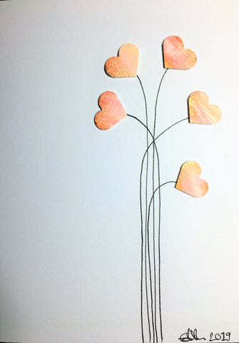 Handpainted Greeting Card - Pink/Orange/Yellow/Bronze Heart Flowers