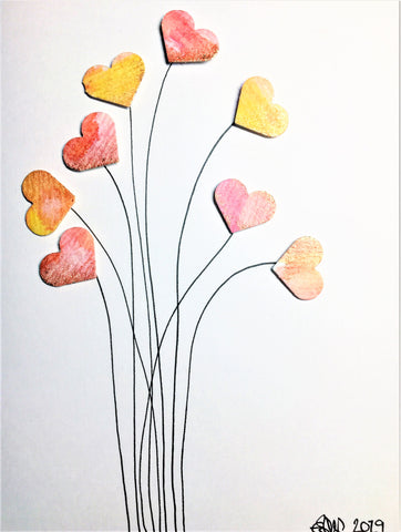 Handpainted Greeting Card - Pink/Orange/Yellow/Bronze Heart Flowers #2