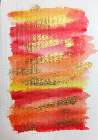 Handpainted Greeting Card - Abstract Red/Orange/Yellow Watercolour with Gold