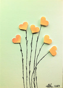 Handpainted Greeting Card - Pink/Orange/Yellow Heart Flowers - eDgE dEsiGn London