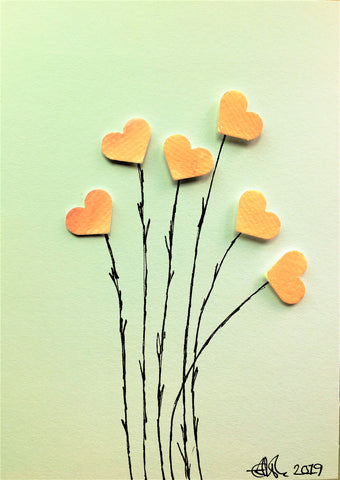 Handpainted Greeting Card - Pink/Orange/Yellow Heart Flowers