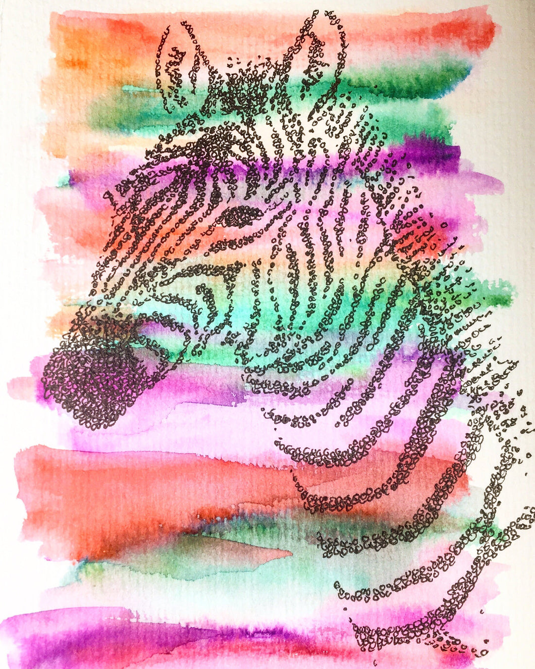 Handpainted Greeting Card/Original Artwork - Abstract Zebra - eDgE dEsiGn London