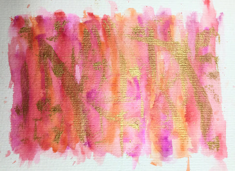 Handpainted Greeting Card - Abstract Pink/Orange/Red/Gold Watercolour