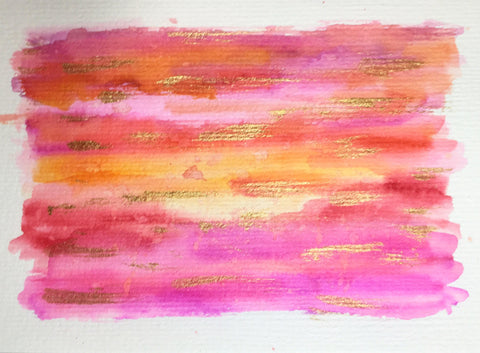 Handpainted Greeting Card - Abstract Orange/Purple/Red and Gold Watercolour