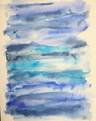 Handpainted Greeting Card- Abstract Blue/Grey/Turquoise Watercolour