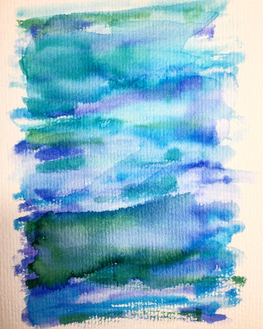 Hand-painted Greeting Card - Abstract Blue/Green/Purple Design
