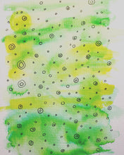 Hand-painted Greeting Card - Abstract Circle Design on Green/Yellow - eDgE dEsiGn London