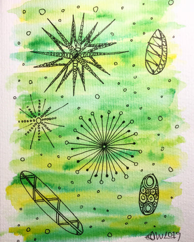 Hand-painted Greeting Card - Abstract Retro Design on Green/Yellow Watercolour