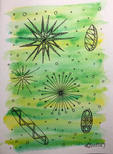 Hand-painted Greeting Card - Abstract Retro Design on Green/Yellow Watercolour - eDgE dEsiGn London
