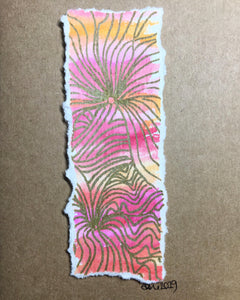 Hand-painted Greeting Card - Gold Waves on Pink/Orange/Yellow/Red Watercolour - eDgE dEsiGn London