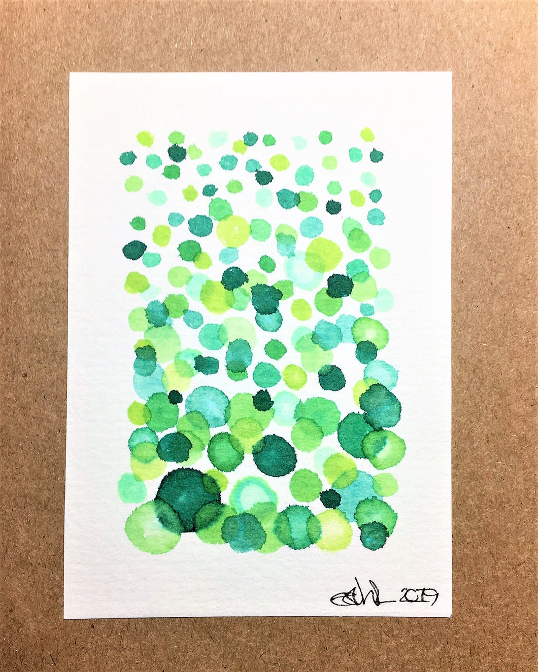 Hand-painted Greeting Card - Green Bubble Design - eDgE dEsiGn London