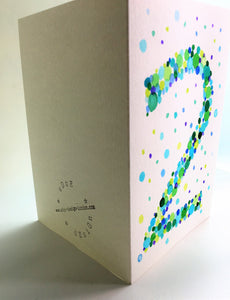 Hand-painted greeting card - 2nd Birthday - Green and blue bubbles - eDgE dEsiGn London