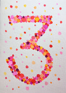 Hand-painted greeting card - 3rd Birthday - Pink, red, orange and purple bubbles - eDgE dEsiGn London