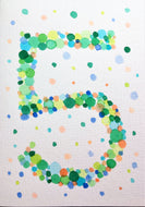 Hand-painted greeting card - 5th Birthday - Green, orange, yellow, turquoise bubbles - eDgE dEsiGn London