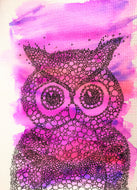 Hand-painted Watercolour Greeting Card - Original Abstract Owl Design - Pink & Purple