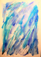 Hand-painted Greeting Card - Abstract Blue, Turquoise and Silver design