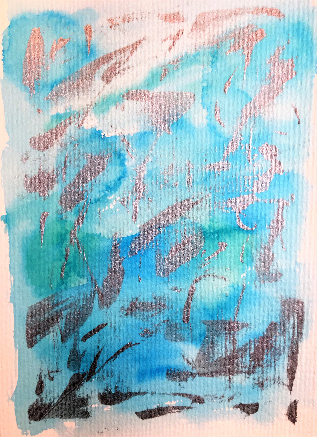 Hand-painted Greeting Card - Abstract Turquoise and Silver Design - eDgE dEsiGn London
