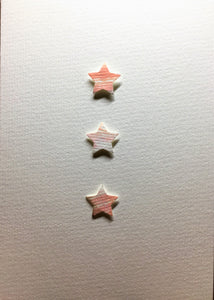 Hand-painted greeting card - Pink, peach and gold star design - eDgE dEsiGn London