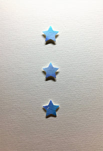 Hand-painted greeting card - Blue, lilac and turquoise star design - eDgE dEsiGn London