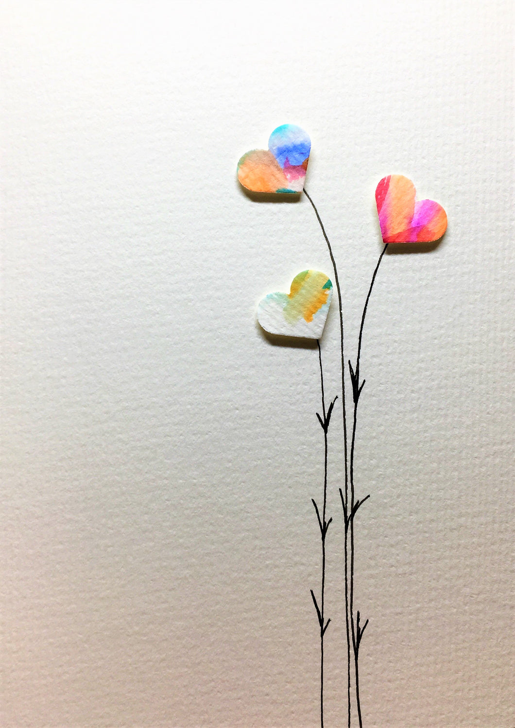 Hand-painted greeting card - Three multicoloured heart flowers design - eDgE dEsiGn London