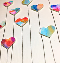 Hand-painted greeting card - Ten multicoloured heart flower design - eDgE dEsiGn London