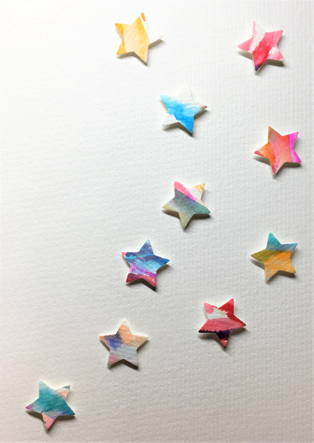 Hand-painted greeting card - Multicoloured star design - eDgE dEsiGn London