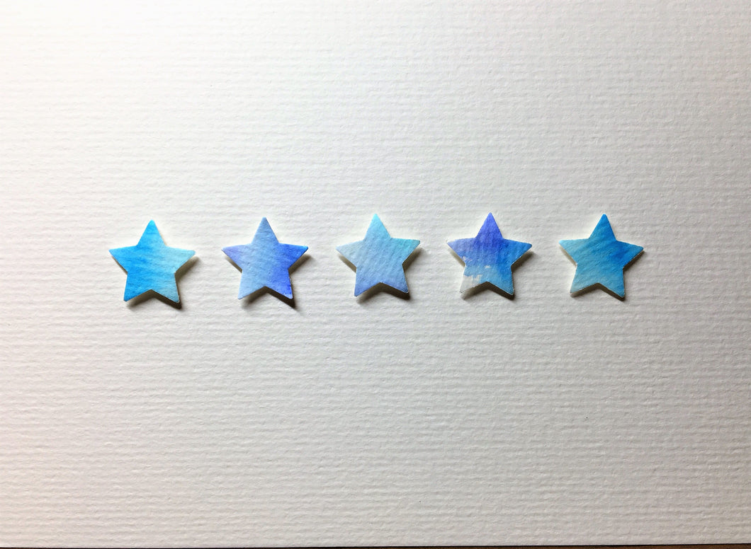Hand-painted greeting card - Blue and turquoise star design - eDgE dEsiGn London