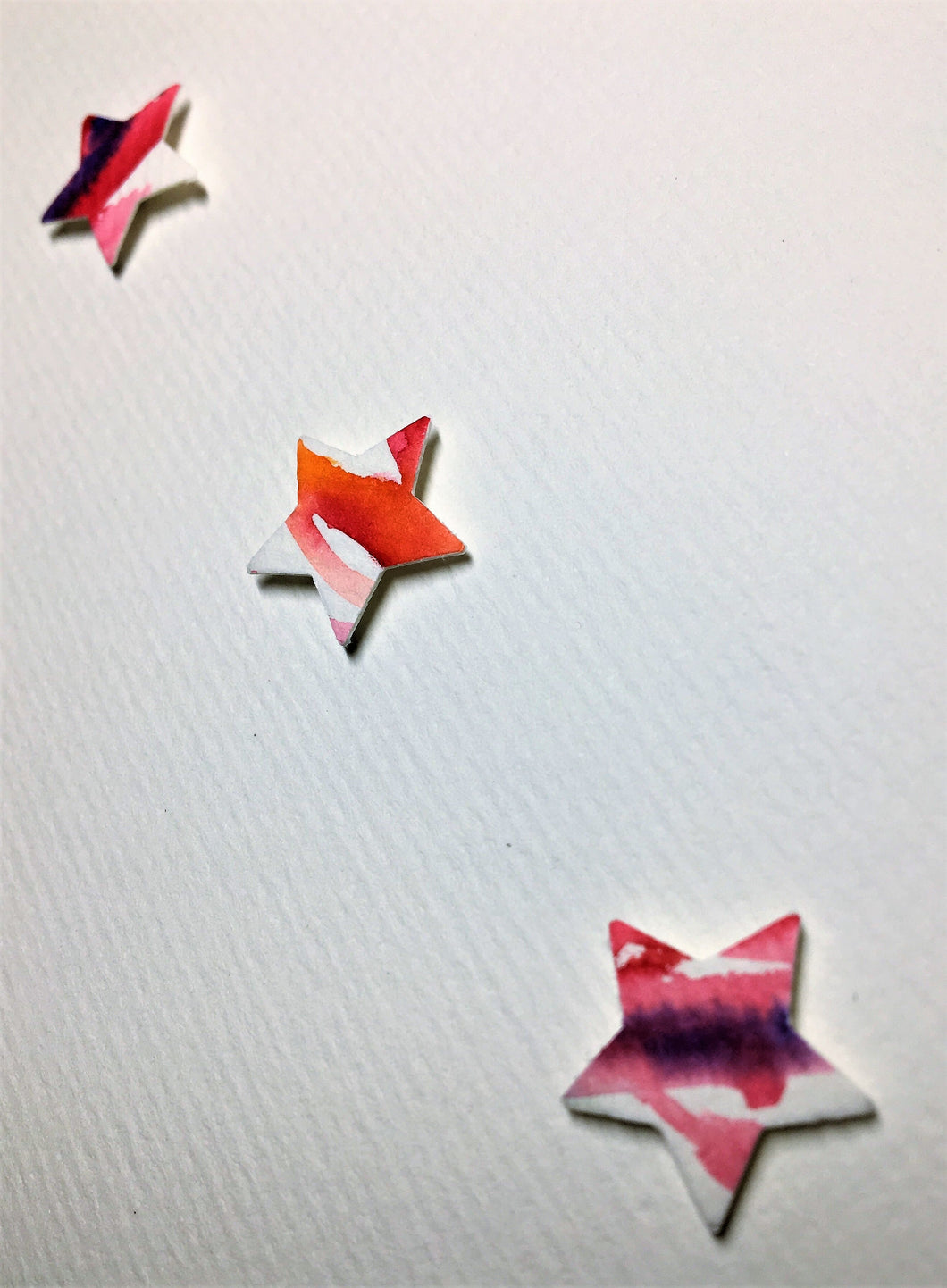 Hand-painted greeting card - Purple, red, pink, orange and white star design - eDgE dEsiGn London