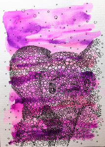 Hand-painted greeting card - Pink and purple with abstract circle Baby Elephant Design - eDgE dEsiGn London