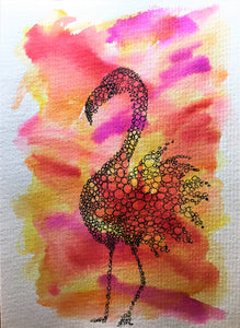 Hand-painted Greeting Card - Red, Orange, Yellow and Purple Abstract Circle Flamingo Design - eDgE dEsiGn London