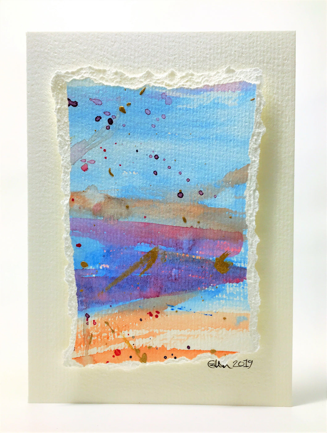 Original Hand Painted Greeting Card - Pink, Blue, Orange, Purple and Gold - eDgE dEsiGn London