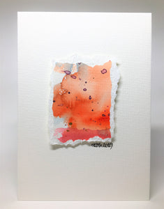Original Hand Painted Greeting Card - Abstract Orange, Red, Purple and Gold - eDgE dEsiGn London