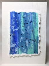 Original Hand Painted Greeting Card - Blue, Turquoise and Silver - eDgE dEsiGn London