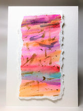 Original Hand Painted Greeting Card - Abstract Pink, Purple, Turquoise, Orange and Gold - eDgE dEsiGn London