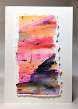 Original Hand Painted Greeting Card - Abstract Blue, Pink, Orange, Purple and Gold - eDgE dEsiGn London