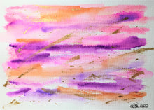 Original Hand Painted Greeting Card - Abstract Orange, Pink, Purple and Gold - eDgE dEsiGn London