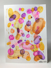 Original Hand Painted Greeting Card - Abstract Orange, Yellow, Pink and Gold Circle Design - eDgE dEsiGn London