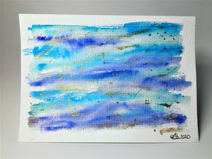 Original Hand Painted Greeting Card - Abstract Blue, Turquoise and Gold - eDgE dEsiGn London